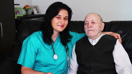 Senior man and nurse