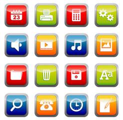 set icônes boutons carrés bureau quadri