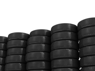 Stack of Car Tires isolated on white background