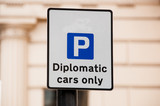 Road sign for car parking Diplomatic cars only