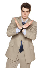 Young business man making stop gesture