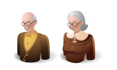 people icons : old man and old women