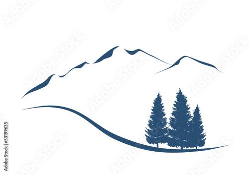 Berglandschaft mit Tannen