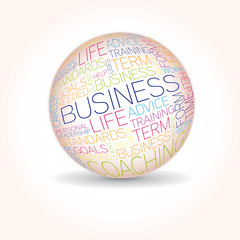 Business concept related words in sphere tag cloud isolated