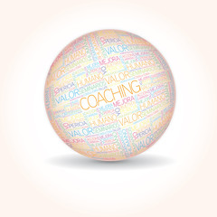 Coaching concept related spanish word sphere tag cloud isolated