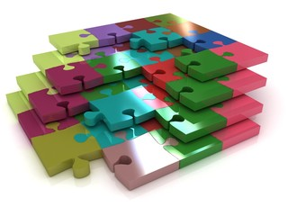 Many-colored puzzle pattern (removable pieces)