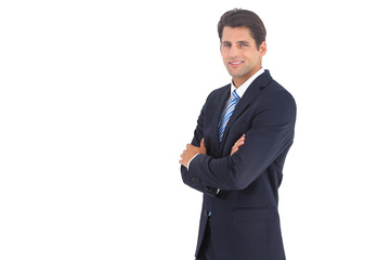 Side view of a smiling businessman