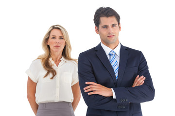 Serious businessman and woman