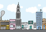 Vector cartoon city / Color Neighborhood
