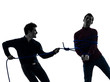 two  men twin brother friends conflict  silhouette