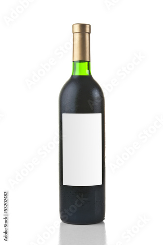 Wine bottle on white background