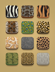 animal skin icon set for apps