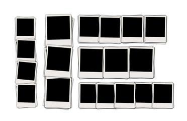 Set of Blank Polaroids Isolated on White Background