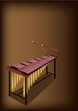 A Retro Marimba on Dark Brown Background