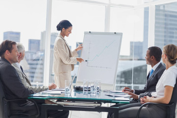 Businesswoman pointing at a growing chart during a meeting