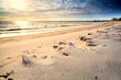 sunny sand beach before sunset