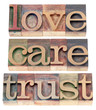 trust, love, respect in wood type