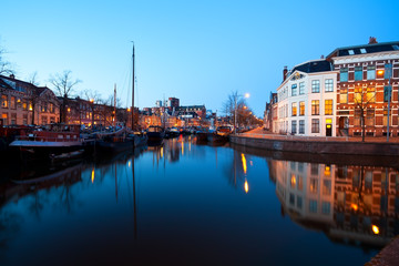 Groningen canal street at night