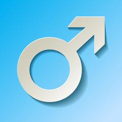Marssymbol männliche Geschlecht Hintergrund blau