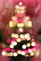 Abstract christmas tree with falling snow