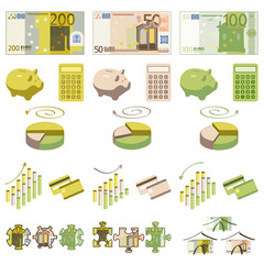 Dinero y elementos infográficos