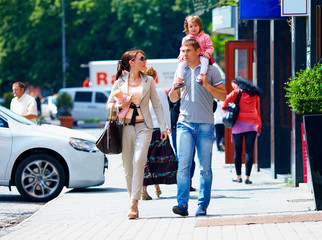family walking the city street, casual lifestyle