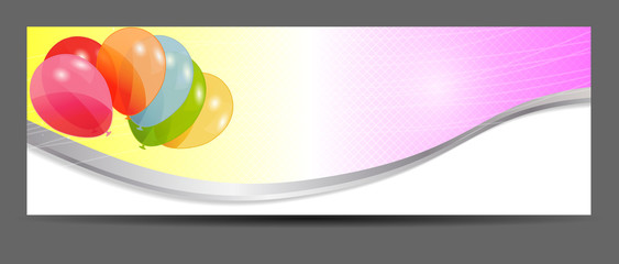 colored balloons banner, vector illustration