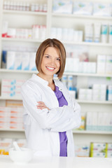Pharmacist chemist with crossed arms