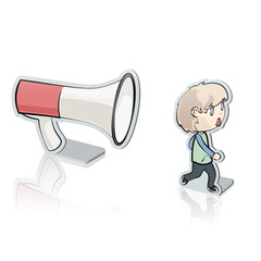 Young kid shouting with megaphone.