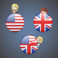 Kids holding English icon.
