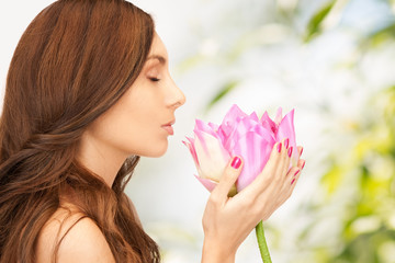 beautiful woman with lotus flower