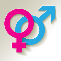 Venussymbol und Marssymbol Pink Blau