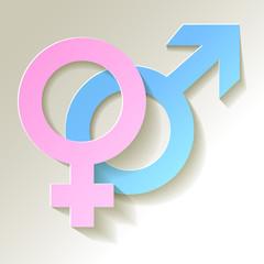 Venussymbol und Marssymbol hell Pink Blau