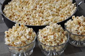 Freshly cooked popcorn in bowls