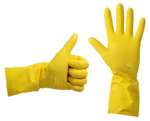 One hand in yellow rubber glove isolated on white background