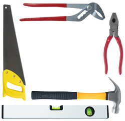 set of different tools on white background