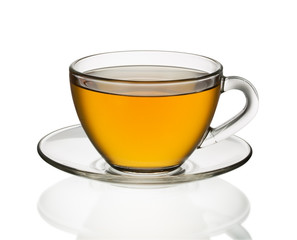 Transparent cup of tea isolated on white
