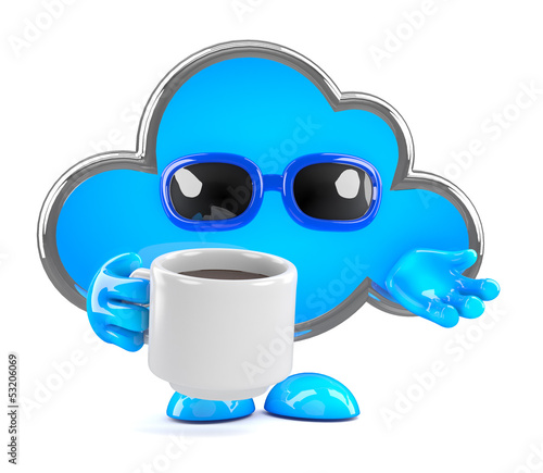 Cloud enjoys a cup of coffee