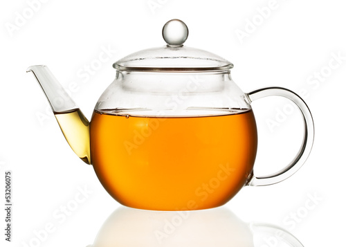 Foto op Aluminium Thee Teapot with tea isolated in white background