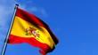 Spain Flag Waving On Blue Sky HD