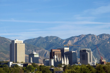 Skyline of Salt Lake City, Utah framed by the Wasatch Mountains