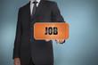 Businessman selecting orange tag with job