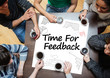 Time for feedback written on a poster with drawings of charts - 53207017