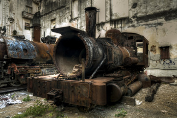 Wreck of communist locomotive in Havana, Cuba
