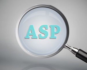 Magnifying glass showing asp word