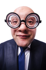 Funny man with glasses on white