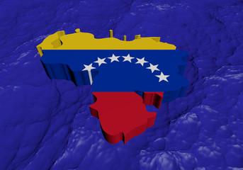 Venezuela map flag in abstract ocean illustration
