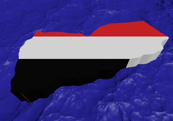 Yemen map flag in abstract ocean illustration