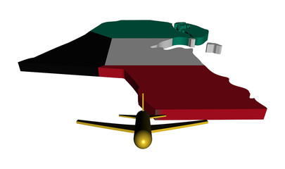 Plane taking off from Kuwait map flag illustration