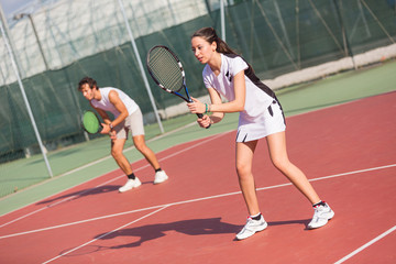 Tennis Players during a Match